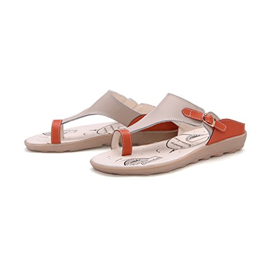 gracosy Women Summer Beach Bath Slippers Casual Sandals Shoes for Ladies Leisure Soft Comfortable Clip Toe Buckle Leather Flat Open Heel Sandals Indoor Outdoor Flip-Flops Orange 4 UK XSmxl3GAqy