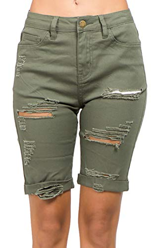 - TwiinSisters Women's Casual Mid Rise Camo Print Cargo Twill Bermuda Shorts with Comfort Stretch