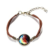 Galaxy & Cosmic Colorful Pendant Bracelet, Blue Glass, 8 (20.3cm) Suede Rope, Great Gift for Women