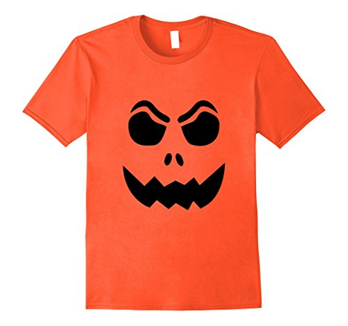 Mens PUMPKIN JACK O' LANTERN T-shirt Fun Easy Halloween Costume T Large Orange