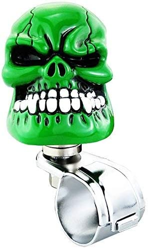 Lunsom Skull Shape Steering Wheel Spinner Resin Driving Power Handle Control Grip Booster Suicide Knob Car Turning Aid Helper Fit Universal Vehicle Blue