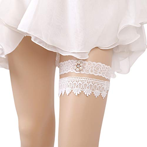 Kercisbeauty Handmade Bridal Bridesmaids Elastic Adjustable White Vintage Lace Garter Hen night bachelorette party (Pearl)
