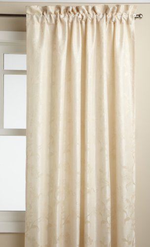 LORRAINE HOME FASHIONS Floral Lustre 52-inch x 84-inch Tailored Panel, Ivory ()