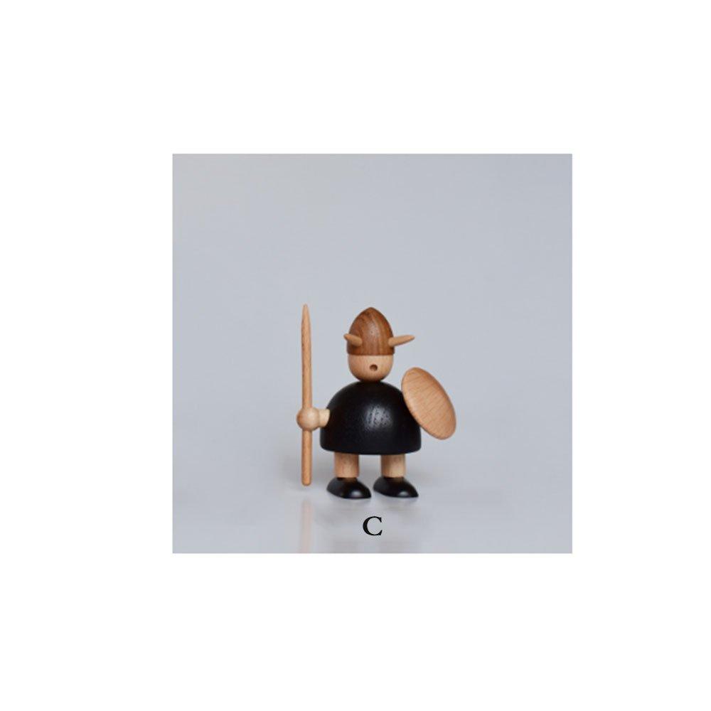 YANJJ Vikingos Decoraciones para El Hogar Marioneta Adornos De Madera Regalo Creativo,C