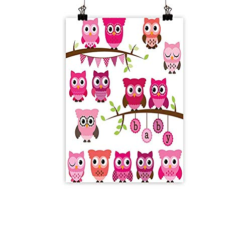 Nursery Modern Frameless Painting Girl Baby Shower Themed Owls and Branches Adorable Cartoon Animal Characters Bedroom Bedside paintingPurple Pink Brown 31