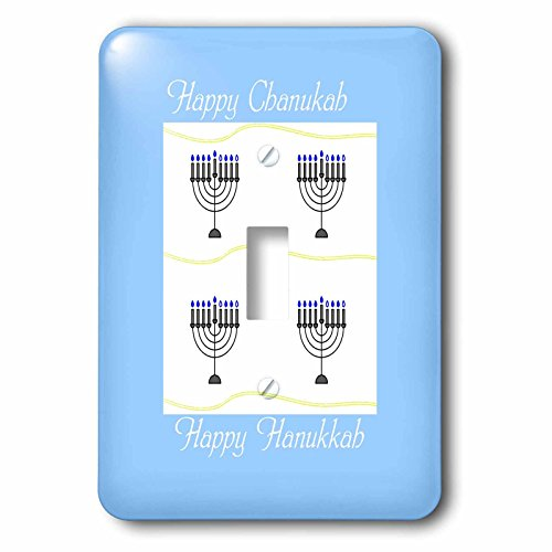 3dRose Chanukah for Special People - Image of Happy Chanukah With Menorahs On Pale Blue - Light Switch Covers - single toggle switch (lsp_262588_1) (Menorah People)