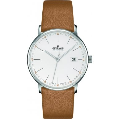 Junghans Watch Form A Automatic Matte Silver Dial Brown Strap 027/4734.00