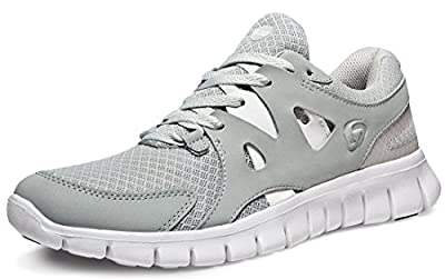 TSLA Men's Boost Running Walking Sneakers Performance Shoes, Zero Vent(e630) - Light Grey, 9.5