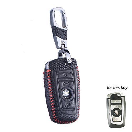 DKMUS for BMW 5 7 Series FOB Shell Key Chains Premium Quality Handmade Leather Key Cover for BMW F05 F10 F20 F30 Z4 X1 X2 X3 X4 M1 M3 e30 e36 e90 e60 e84 e39 e46 e90 e63 e53 (Luxury Red)