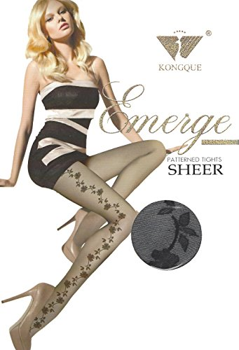 attern High Quality Nylon Sheer Opaque Tight Pantyhose & Stocking (Flower Stripe Tights)