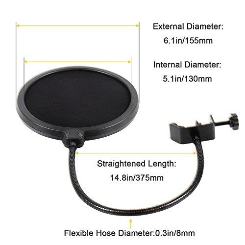 Earamble Studio Microphone Pop Filter Round Shape Wind Mask Shield Screen - Image 1