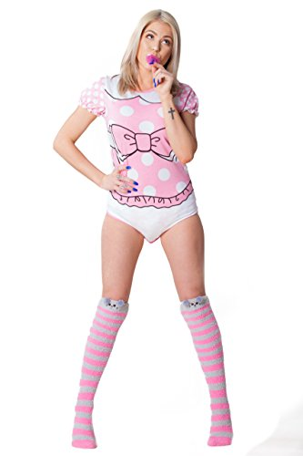 ABDL Supply Adult Baby Diaper Lover Aww So Cute Princess Adult Onesie (Small) -