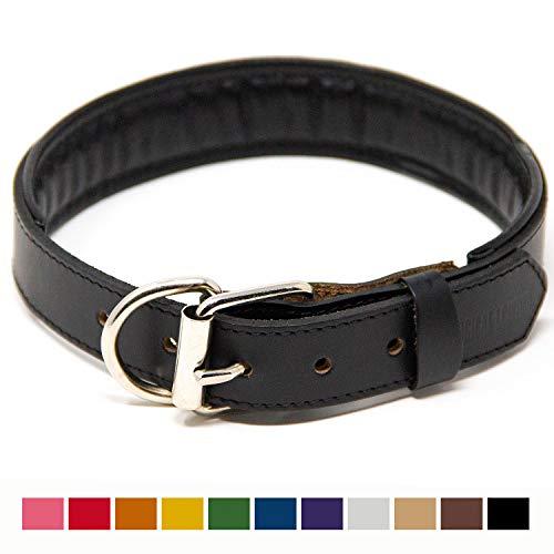 Logical Leather Padded Dog Collar - Best Full Grain Heavy Duty Genuine Leather Collar - Black - - Collar Dog Black Leather