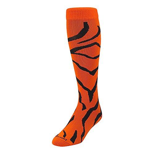 (TCK Sports Krazisox Zebra Stripe Socks (Orange/Black, Medium))