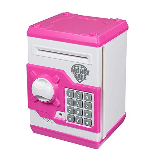 APUPPY Cartoon Password Piggy Bank Cash Coin Can,Electronic Money Bank,Birthday Gifts Toy Gifts for Kids (Pink)