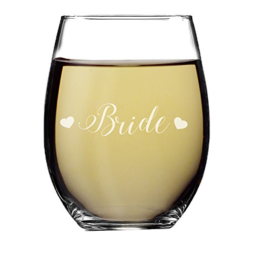 Wedding Party Stemless Wine Glasses - Etched Wine Glass Gift Favor (Hearts Style, Bride - Stemless 15oz) by My Personal Memories (Image #1)