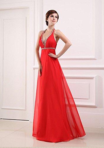 Beauty Rot Kleid Damen Abend Emily lang V Chiffon formale Ausschnitt Tv5zv61wq