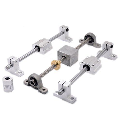 - 3D Printer Guide Rail Sets T8 Lead Screw Pitch 2mm Lead 8mm Length 600mm + Linear Shaft 8X600mm + KP08 SK8 SC8U + nut housing +D19L25 5x8mm Coupling (600mm)