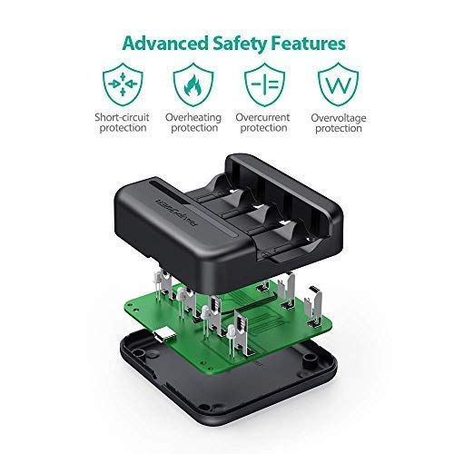 RAVPower Juego de 8 bater/ías Recargables con Cargador de bater/ía Arlo y Funda de bater/ía 3,7 V 700 mAh para c/ámaras de Seguridad inal/ámbricas Arlo VMC3030 VMK3200 VMS3330 3430 3530