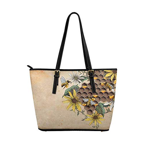 (InterestPrint Women Totes Top Handle HandBags PU Leather Purse Honey Bee and Apiary)