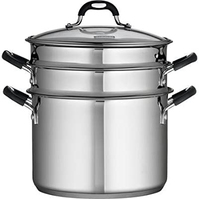 18/10 Stainless Steel 4-piece 8-quart Multi-cooker Set Includes: Straight-sided Stockpot, Pasta Insert and Steamer Basket by Tramontina