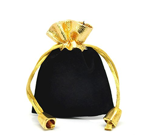 Black Velvet Drawstring Pouches Jewelry Gift Bags 10pcs,7x9cm