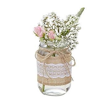 Blumen Vase Blumen Glas Mit Jute Weißer Spitze Rustikal Spitze Hochzeits Deko Tisch Dekoration Vintage Hochzeit Geburtstag Blumen Vase 5 Vasen