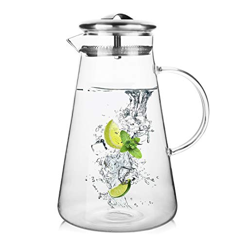Hiware 68 Ounces Glass Pitcher with Lid and Spout, Heat Resistance Water Carafe for Hot/Cold Water, Refrigerator Pitcher for Homemade Iced Tea & Juice ()