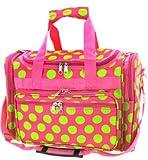 Cheap Dallas Luggage Pink Green Polka Dots Duffle Bag 22-inch