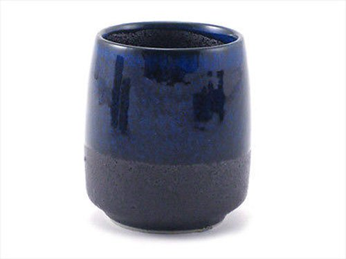 Japanese Porcelain 3''h Sushi Tea Juice Cup Blue Black Matted Design by Yokohama Gifts
