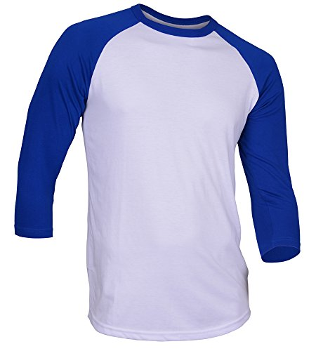 Dream USA Men's Casual 3/4 Sleeve Baseball Tshirt Raglan Jersey Shirt White/Blue Medium