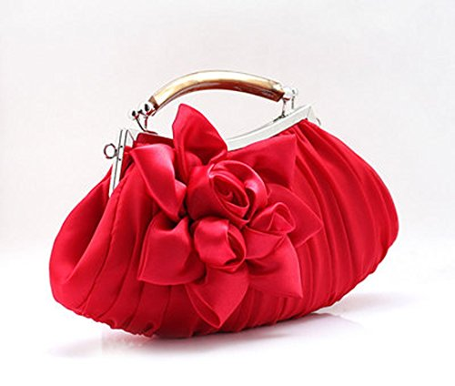 3D evening rose res balck black silver champagne bag clutch purpule women's Color 7 white silk floral red nvwxzqpE6