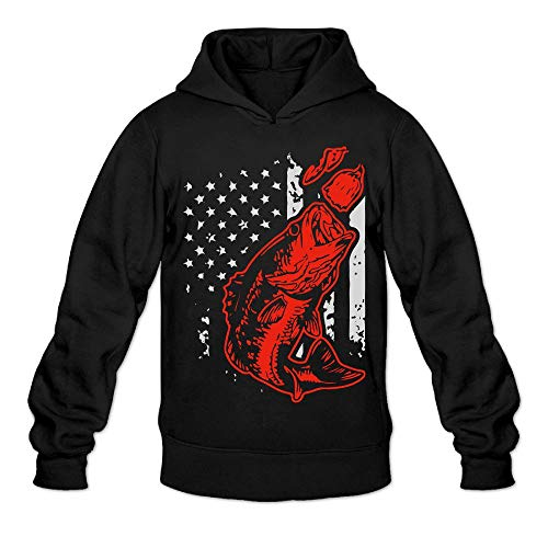 Mens Bass Fishing Lure and American Flag Hoodies, Casual 100% Cotton Sweatshirt for Men -