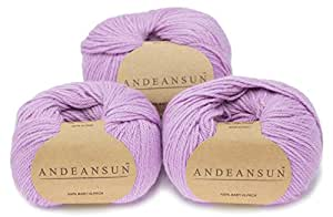 100% Baby Alpaca Yarn Skeins - Set of 3 (Light Violet) - AndeanSun - Luxuriously soft for knitting, crocheting - Great for baby garments, scarves, hats, and craft projects - LIGHT VIOLET