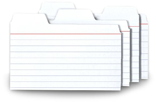 Find-It Tabbed Index Cards, 3 x 5 Inches, White, 48-Pack (FT07215)