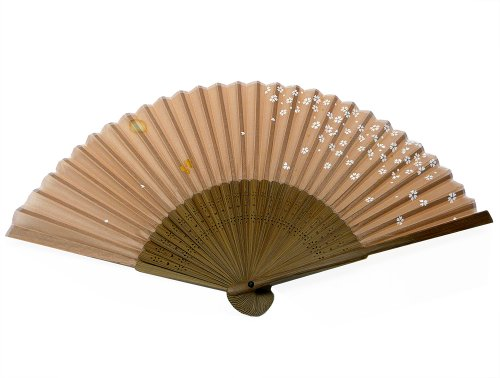 (World Treasure Japanese Design Silk Handheld Folding Fan, Blush Brown with White Petals and Gold Butterfly)