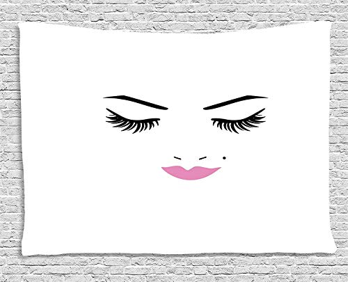 Bnialaed Eyelash Tapestry Closed Eyes Pink Lipstick Glamor Makeup Cosmetics Beauty Feminine Design 80 W X 60 L in Unique Wall Tapestry for Living Room Bedroom