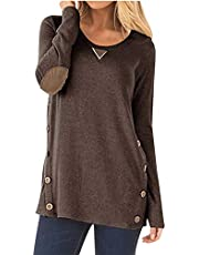 Camisunny Womens Casual Loose Tunic Tops Sweatshirt Long Sleeve Blouse Scoopneck Faux Suede Decor Buttons