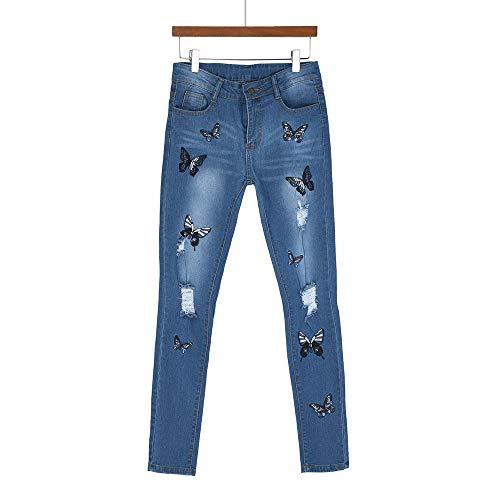 Vaqueros Pantalones Cintura Mujer Mujer Medio de Tallas Estampado Mariposa Mujer Azul Stretch Grandes Pantalones Flaco Gusspower Elásticos Jeans xEnYngf