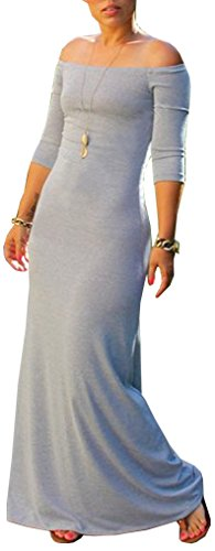 Blansdi Half Sleeve Solid Women Mermaid Dress Evening Off Maxi Grey Gown Shoulder Bodycon BwBrq