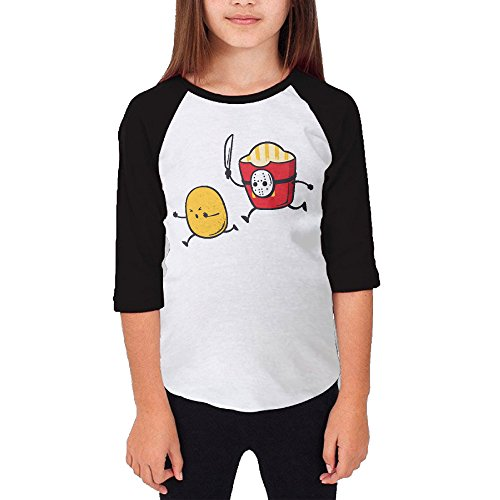 Paplo Youth Run For Your Life Potato 3/4 Sleeve Baseball Raglan 100% Cotton Shirt Size M