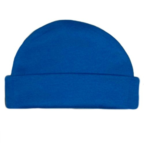 (Jacqui's Unisex Baby Cotton Knit Capped Hats - Lots of Colors!, Small Newborn, Royal Blue)