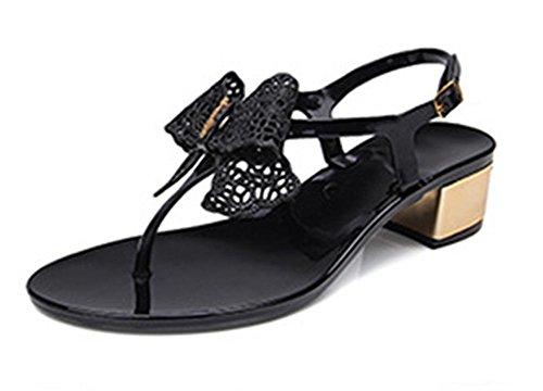 pendiente de verano con las sandalias de tacón alto huecos de las sandalias de la hebilla de las mujeres con zapatos de suela gruesa en Black