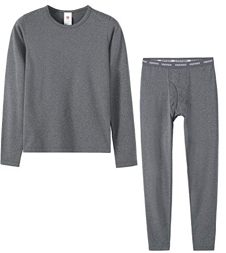 - LAPASA Boys Thermal Underwear Long John Set Fleece Lined Base Layer Top and Bottom B03 (M, Heather Dark Grey)