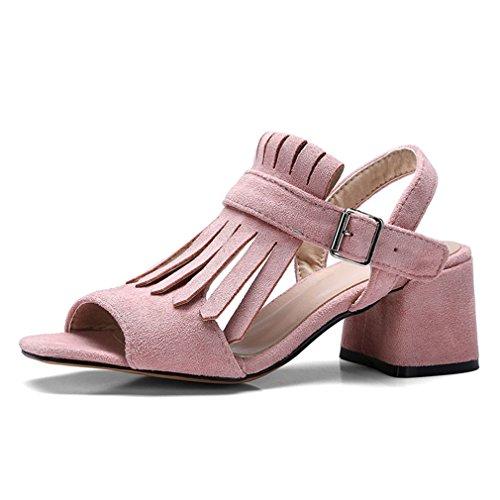 Sandales Pink Boucle Pompes Haute Chaussures Fringe Plein Femelle Rose Talons Doux Peep Air Élégant Noir Toe Dames Lumino Femmes wzaqxUZUv