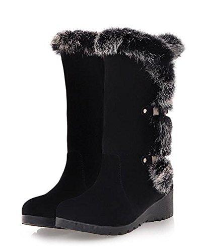 Sfnld Women's Winter Warm Fleece Lining Mid Calf Boots