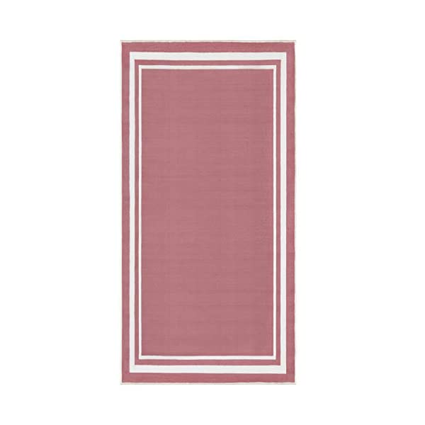 Evolur Home Nursery Rug 55'x31.5′ in Rose Pink with White Border