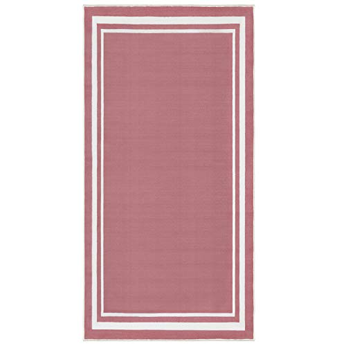 Evolur Home Nursery Rug 55'x31.5' in Rose Pink with White Border ()