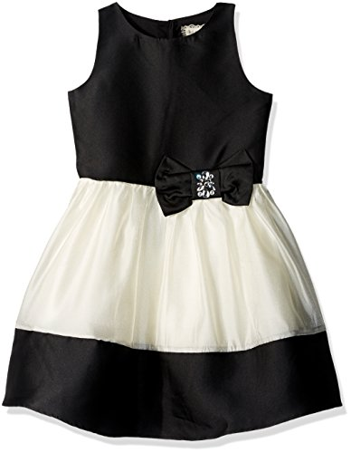 BTween Big Girls' Special Occasion Color block Dress with Jeweled Bow, Black/Ivory, 12