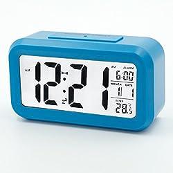 LED digital alarm clock, low light sensor technology, with large LCD display, temperature display (blue)